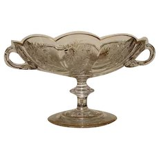 Antique Moser Style Etched Glass Compote or Bonbon, Gold Enamel Accents