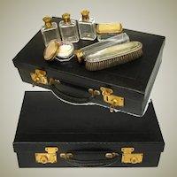 "Antique French 18"" Epi Style Leather Trousse de Voyage, Travel Case, Valise, Several Jars!"