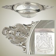 Antique French Sterling Silver Legumier or Ecuelle (Bowl), Armorial Crown & Mascarons