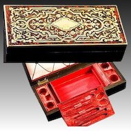 Fabulous Antique French Boulle Sewing Box, Etui, Fitted Casket, No Tools