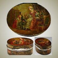RARE Antique Vernis Martin 1700s Table Snuff, Etui - Marie-Antoinette & Versailles paintings