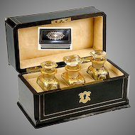 Fine Antique French Scent Caddy, 3 Baccarat Bottles, Napoleon III era c. 1840-70