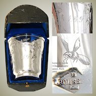 """Antique French Sterling Silver Wine Cup, Tumbler or """"Timbale"""" with Butterfly, Original Box"""