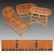 Rare Antique Victorian Era 3pc Miniature or Bru Doll Sized Rattan Furniture Set