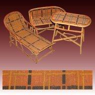 Rare Antique Victorian Era 3pc Miniature or Bru Doll Sized Rattan Furniture Set