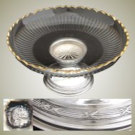"Antique French Sterling Silver & Cut Glass 9.5"" Compote or Centerpiece, Paris 1897"