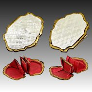 Antique French Carved Mother of Pearl & Silk Coin Purse, c. 1860, Napoloen III - MOP