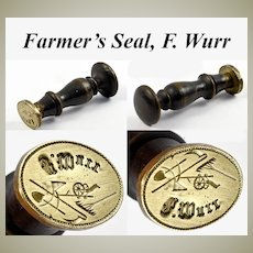 "RARE Antique Victorian Era Wax Seal, Sceau, Farmer's Tools & ""F. Wurr"" Monogram"