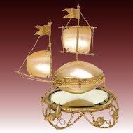 Rare Antique French Palais Royal Sewing Etui, Casket, Sailboat Shape w/ Mirror Plinth
