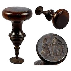 "Antique English Treen and Steel Large Wax Seal, Sceau, ""Church & King"", c.1790-1830"