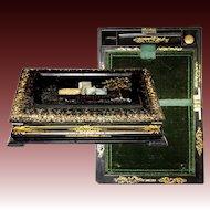 Antique Victorian Era 19th C. Papier Mache Writing Box, Lap Desk or Slope, HP & Pearl Decoration