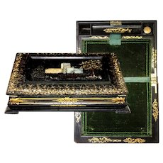 Antique Victorian Era 19th C. Papier Mache Writing Box, Lap Desk or Slope, HP & Pearl Decoration