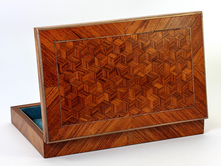 Antique French Parquet Worked Desk or Jewelry Box or Cigars Box, Napoleon  III era, c  1850-70s