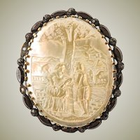 Antique Victorian Era Brooch in Mother of Pearl, Carved Scene in the French Romantic Genre