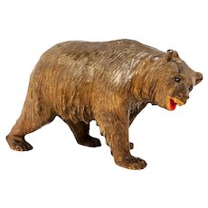 Antique Hand Carved Black Forest Bear, Glass Eyes and Painted Mouth, c. 1900