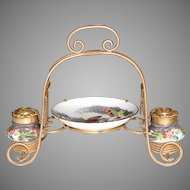 "Antique French Napoleon III 8"" Double Inkwell or Inkstand, HP Porcelain & Gilt Ormolu"