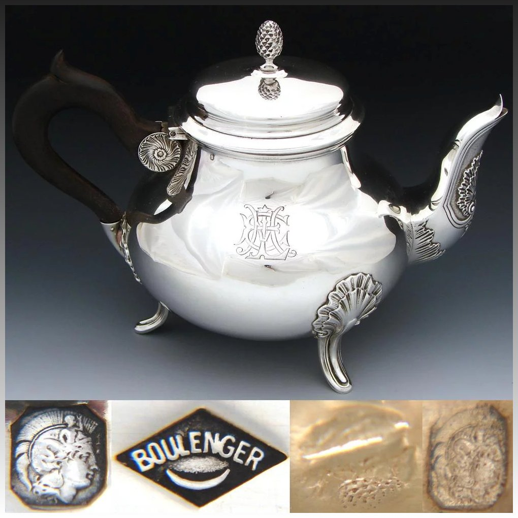 Elegant Antique French Sterling Silver Coffee Or Tea Pot