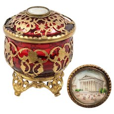 Antique French Cranberry Glass & Ormolu Powder Jar, Bonboniere, Eglomise View of Madeleine