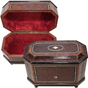 """Tantalus? Antique French Napoleon III Era Tall Box, 12"""" Casket, Stationery Chest or ?"""