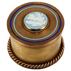 Antique Victorian Era Brass or Bronze Tea Caddy or Humidor, Champleve Enamel & Figural Medallion