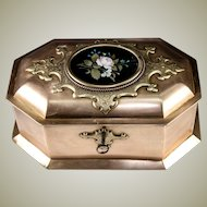 "RARE Antique Heavy Italian Jewelry Box, 9.25"" Casket, Pietra Dura Plaque, c.1840-60, Lock and Key"