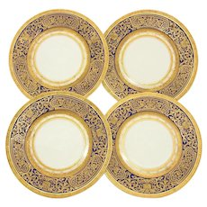 "Gorgeous Vintage Czech 4pc Cobalt & Raised Gold Enamel 10 3/4"" Dinner Plate Set"