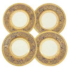 "Gorgeous Vintage Czech 4pc Cobalt & Raised Gold Enamel 10 3/4"" Dinner Plate Set"