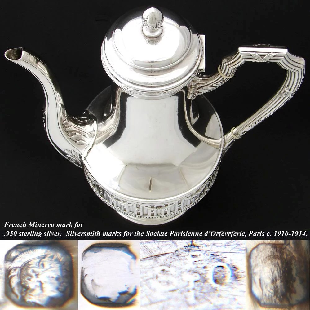 Elegant Antique French 10 Sterling Silver Coffee Or Tea
