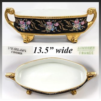 """HUGE 13.5"""" Antique Hand Painted Limoges, France, French Centerpiece, Heavy Gold Enamel"""