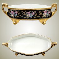 "HUGE 13.5"" Antique Hand Painted Limoges, France, French Centerpiece, Heavy Gold Enamel"