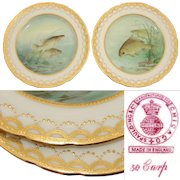 """Gorgeous PAIR of Antique MINTON 9"""" Cabinet or Fish Plates, Hand Painted & Signed, Raised Gold Enamel"""