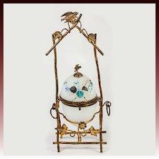 Antique French Opaline Egg Jewelry Casket, Enamel and Bird in Ormolu