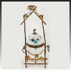 Antique French Opaline Egg Jewelry Casket, Enamel and Bird in Ormolu