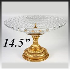 "Massive 14.5"" Diam Antique French Table Centerpiece, Empire Revival, Finest Baccarat Crystal #2"