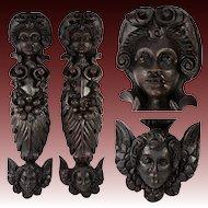 "Rare Pair 18"" Tall Hand Carved Figural Pillar Columns, Putti & Wings, 1700s"