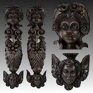 "Rare Pair 18"" Tall Hand Carved Figural Pillar Columns, Putti & Wings, 1700s"