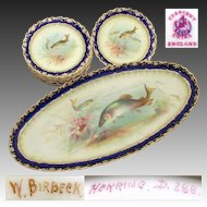 "Superb Antique George Jones & Sons 10pc Fish Plate Set, Matching 24.5"" Tray or Platter, all Hand Painted & Signed"