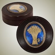 Antique c.1700s French Snuff Box or Patch Box, Hair Art & Foil with Tiny Diamond Monogram