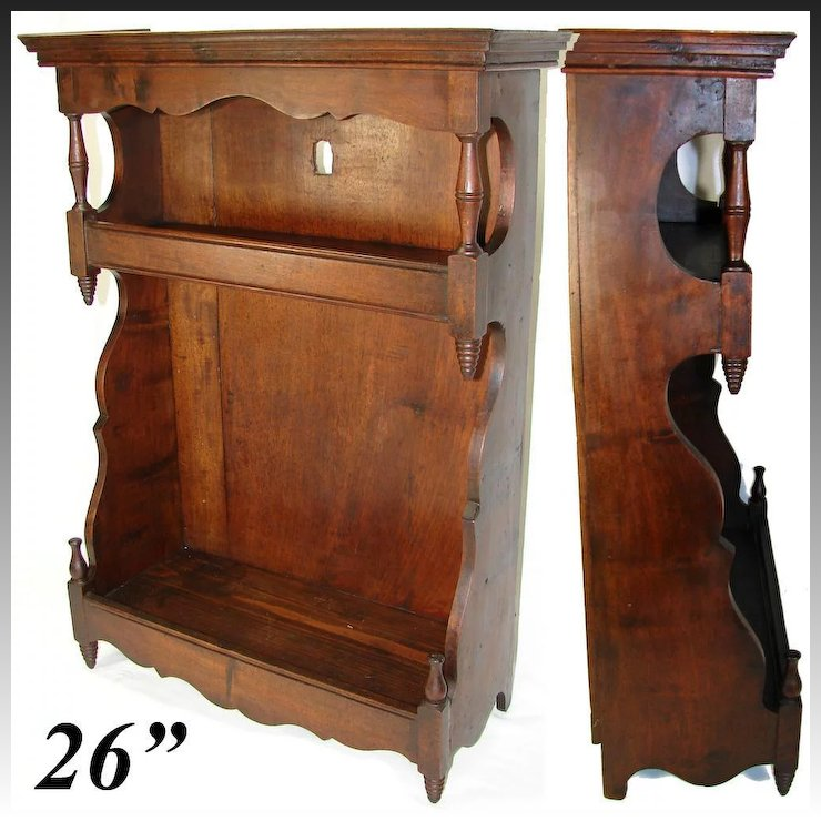 """Antique French 26"""" Tall Wall Cabinet, 1700s, Walnut, Perfect Display or  Accent - Antique French 26"""" Tall Wall Cabinet, 1700s, Walnut, Perfect"""