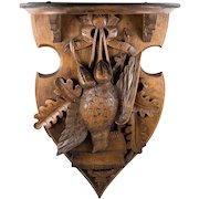 """Antique Black Forest Hand Carved Fruits of the Hunt Theme Wall or Bracket Shelf, 15"""" Long"""