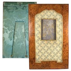 """Superb 16"""" Tall Antique French Burl Wood and Needlepoint Photo Frame, Easel Back"""