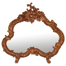 "Gorgeous Vintage 1918 French Carved 22"" Dresser or Boudoir Vanity Mirror, Shaped Beveled Mirror"