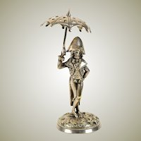 "Antique French Toothpick or Pick Holder, Stand, Silver Plate 6"" Napoleonic Military Figure"