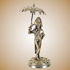 """Antique French Toothpick or Pick Holder, Stand, Silver Plate 6"""" Napoleonic Military Figure"""