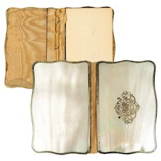 Antique French Carnet du Bal, Nécessaire, Mother of Pearl, Sterling Silver Notebook,