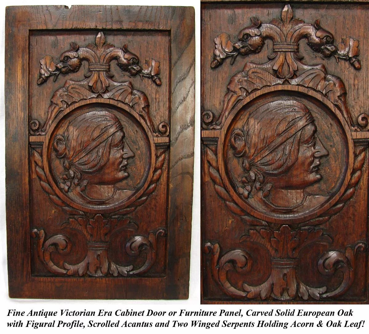 Antique Victorian Carved Oak Cabinet Door Panel Wall Plaque With