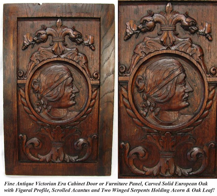 Antique Victorian Carved Oak Cabinet Door, Panel, Wall Plaque with  Serpents, Figural Profile - Antique Victorian Carved Oak Cabinet Door, Panel, Wall Plaque With