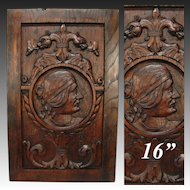 Antique Victorian Carved Oak Cabinet Door, Panel, Wall Plaque with Serpents, Figural Profile