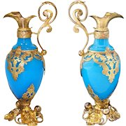 "Rare Antique French Blue Opaline & Gilt Ormolu 7"" Perfume or Cologne Bottle in the Form of a Claret Jug or Ewer"