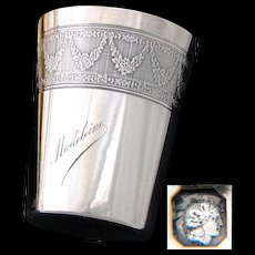 """Antique French Sterling Silver Wine or Mint Julep Cup, Tumbler """"Timbale"""" with Guilloche Decoration & """"Madeleine"""" Inscription"""